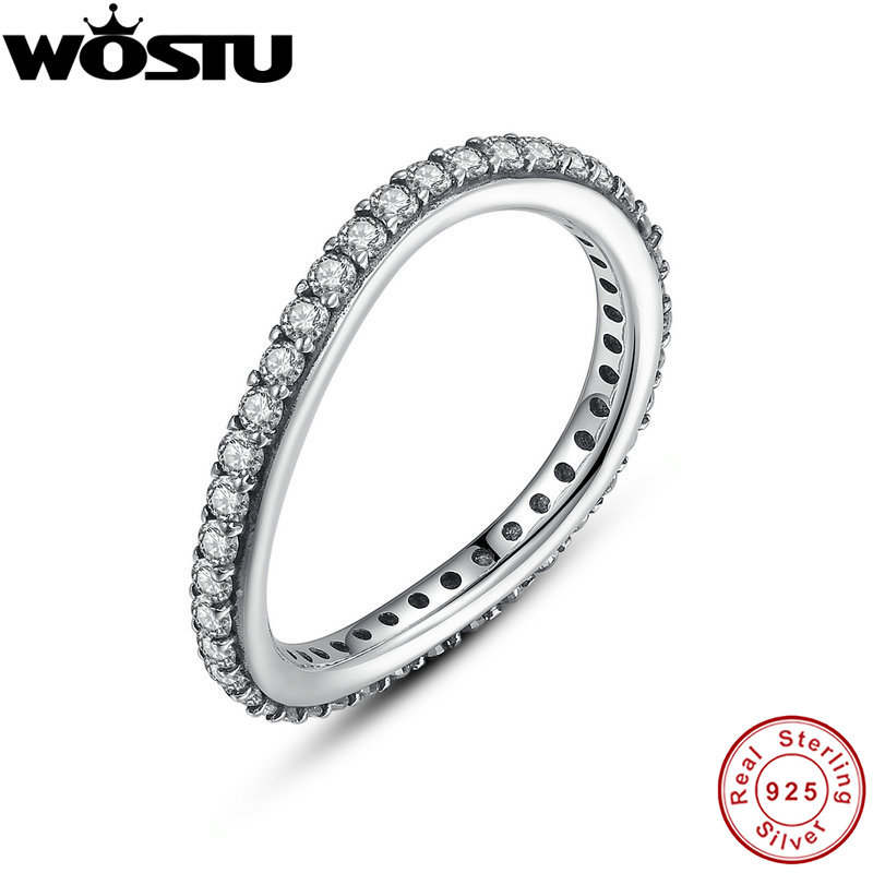 Wholesale 100% 925 Sterling Silver Party Rings With Clear CZ For Women Luxury Original Fine Jewelry Gift FB7171