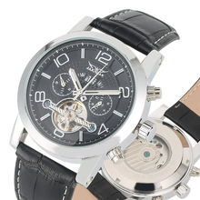 Men Mechanical Watches Automatic Calendar Function Skeleton Watch Black Dial Leather Strap Clock rejor