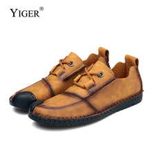 YIGER Spring New Men Casual shoes genuine leather Loafers Leisure Peas Handmade driving Lightweight and durable 0259