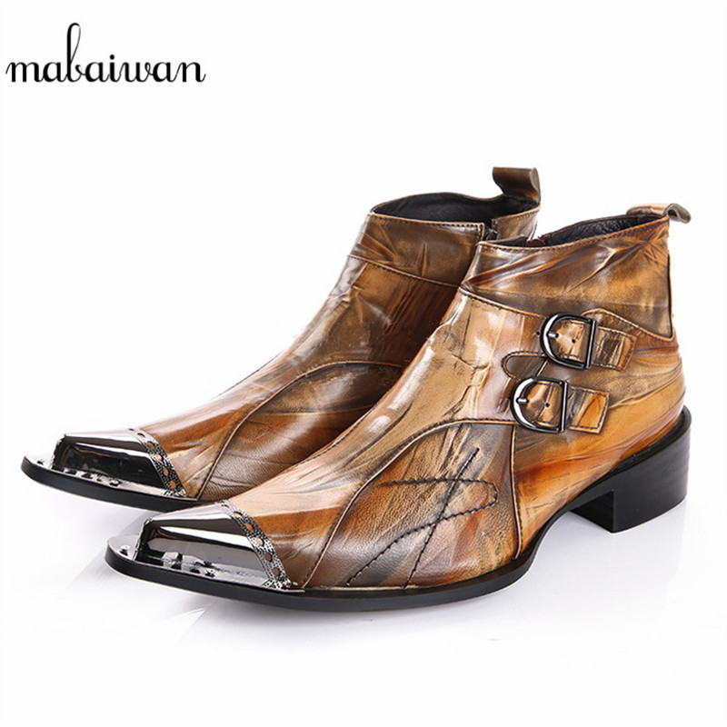 Mabaiwan Brown Genuine Leather Men Shoes Autumn Snow Ankle Boots Slipper Metal Pointed Toe Shoes Men Flats Military Cowboy Boots fashion men ankle boots spring autumn genuine leather shoes lace up botas hombre metal pointed toe cowboy military boots flats