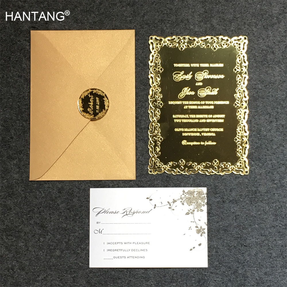 Personalised Hollow Out Pattern 5X7inch Golden Mirror Acrylic Wedding Invitation Card 100 Sets Per Lot ян арт ипотека руководство для ничего не понимающих