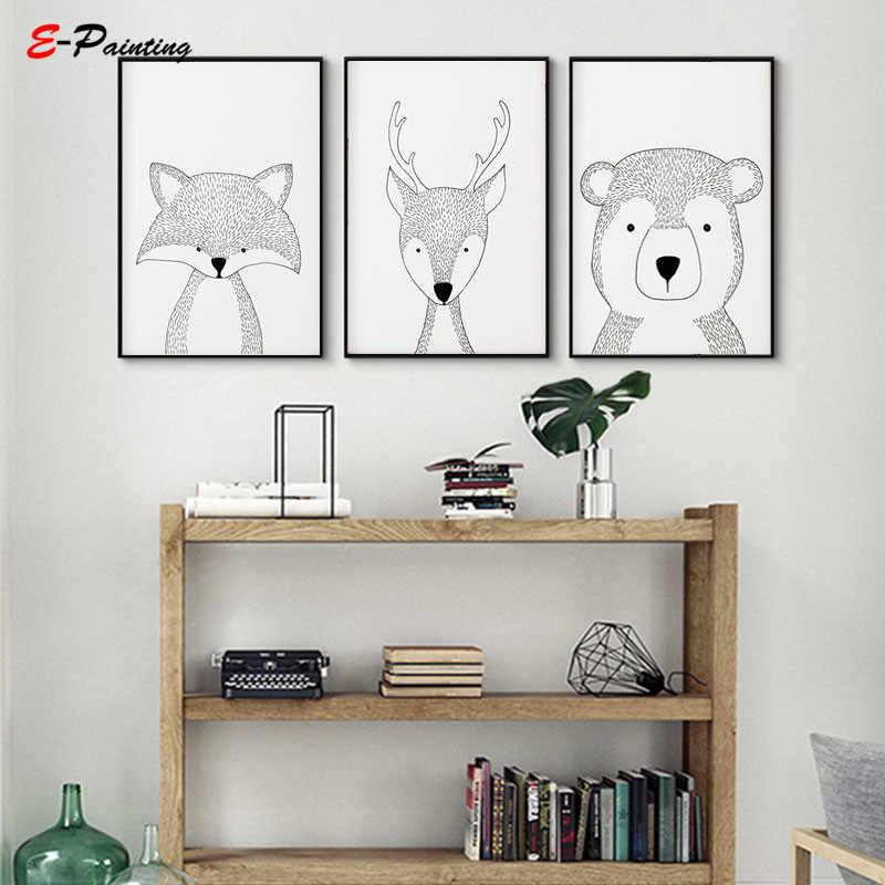 Скандинавский холст настенная живопись животные декор для детской комнаты лиса кролик олень Ежик медведь енот черно-белый детский Декор для спальни
