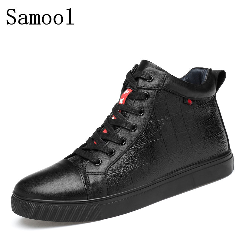 Autumn Winter Men Casual High Top Shoes Genuine Leather Fashion Lace-up Solid Colors Flat With Youth Casual Shoes Big Size 36-47 2017 autumn winter men shoes genuine leather casual lace up men s flats style comfortable dress work shoes big size 37 47