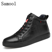 Autumn Winter Men Casual High Top Shoes Genuine Leather Fashion Lace-up Solid Colors Flat With Youth Casual Shoes Big Size 36-47