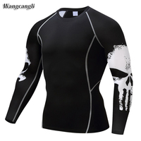 Wangcangli Skeleton Long Sleeve Breathable Men Run 3d T Shirt Weight Lifting Bodybuilding Tight Tee Compression