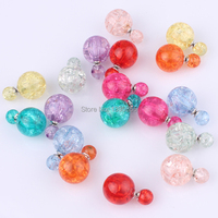 New Fashion Hot Selling Earrings 12pairs Double Side Shining Stud Big Imitation Beads For Women With 9 Colours