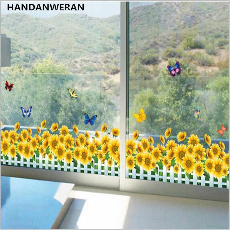 1 Uds pegatinas para pegar en pared de cristal de mariposa de girasol para habitación de niños y bebés, pegatina de rodapié para decoración para dormitorio infantil 50*70CM