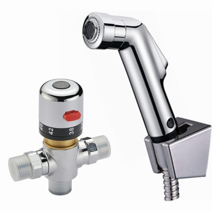 Free Shipping 38 degress Thermostatic Mixer ValveHand held Spray Shower Set Shattaf Bidet Sprayer Jet Tap Douche kit BD530