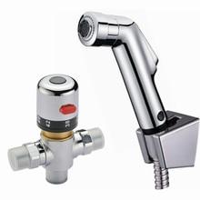Freies Verschiffen 38 degress Thermostatmischer ValveHand gehalten Spray Dusche Set Shattaf Bidet Sprayer Jet Tap Douche kit BD530