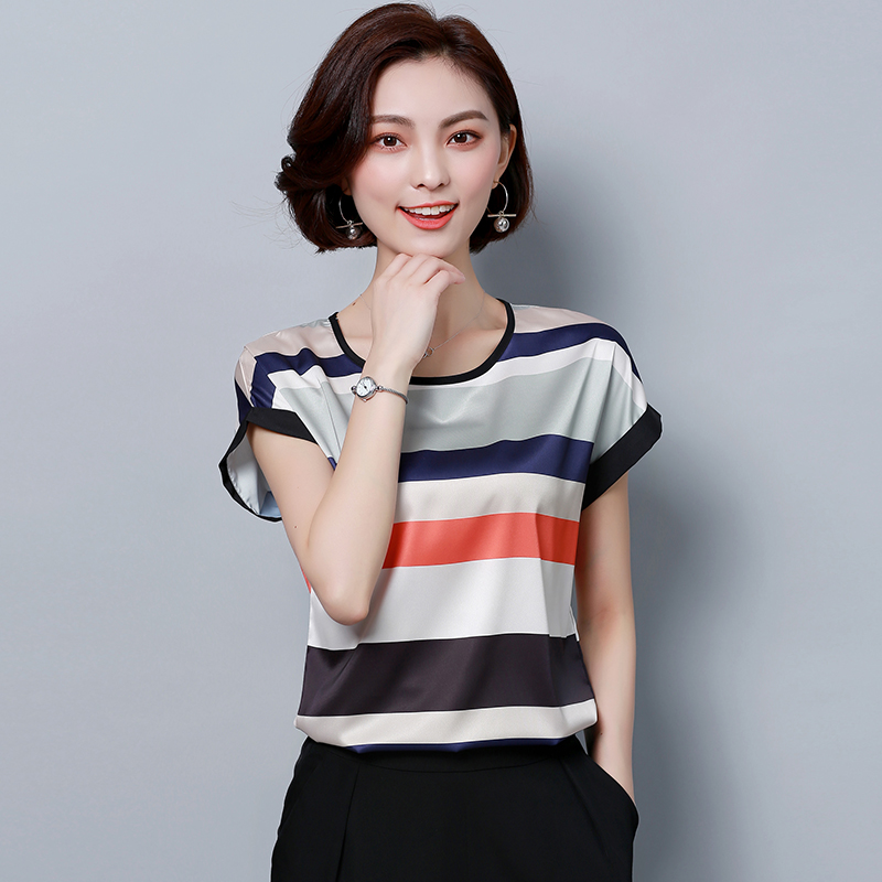 Womens Tops And Blouses Silk Blouse Striped Shirt Ladies Blusas Femininas Elegante Korean Fashion Clothing Plus Size 5xl