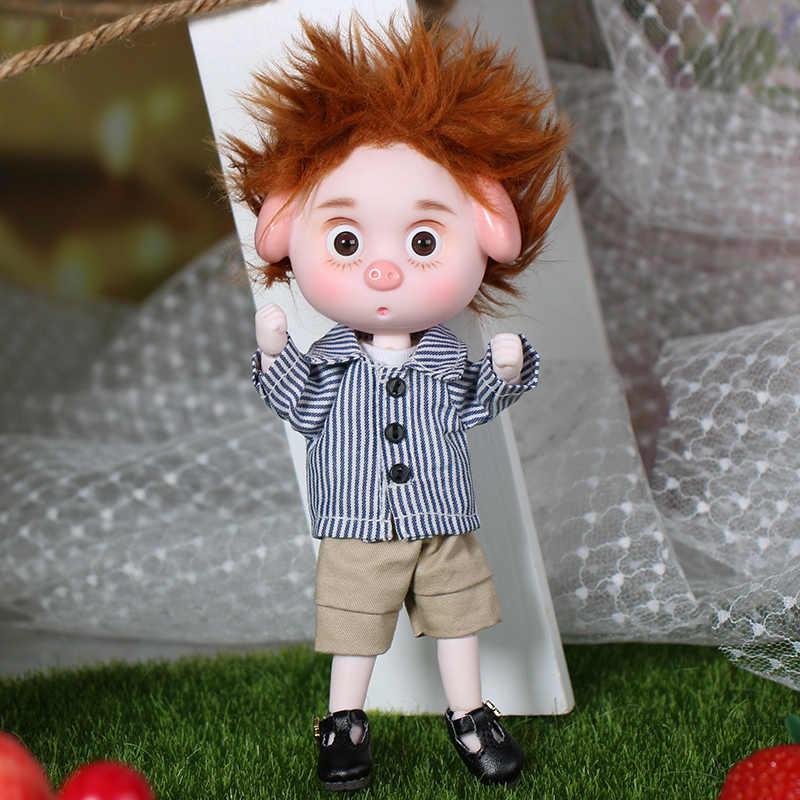 1/12 bjd boneca 26 corpo comum 15 cm mini boneca porco sorte ob11 boneca com equipamento sapatos de maquiagem e caixa combinação conjunto presente brinquedos