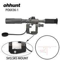 ohhunt Dragunov SVD POS 6X36 1 Red Illuminated Hunting Riflescope Tactical Optics Sights Fits for SVD SKS AK 47 74 Rail Mount