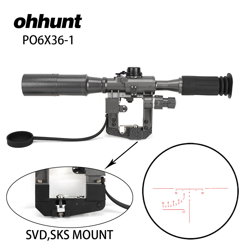 Ohhunt Dragunov SVD POS 6X36-1 Rouge Illumination de Chasse de Tir Tactique Optique Sites Adapte pour SVD SKS AK 47 74 Rail montage