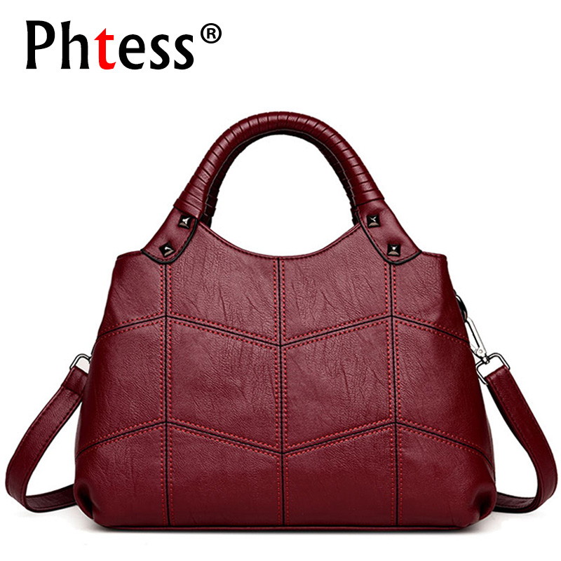 2018 Women Leather Handbags Vintage Casual Tote Bags Female Designer Brand Crossbody Shoulder Bag Ladies Hand Bag Sac A Main new women leather handbags shoulder bag women s casual tote bag female patchwork handbags high quality main ladies hand bags