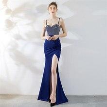 New Beading Split evening dresses Long Formal prom party Dress Dinner Annual Straps  women robe de soiree Vestido CX SHINE все цены