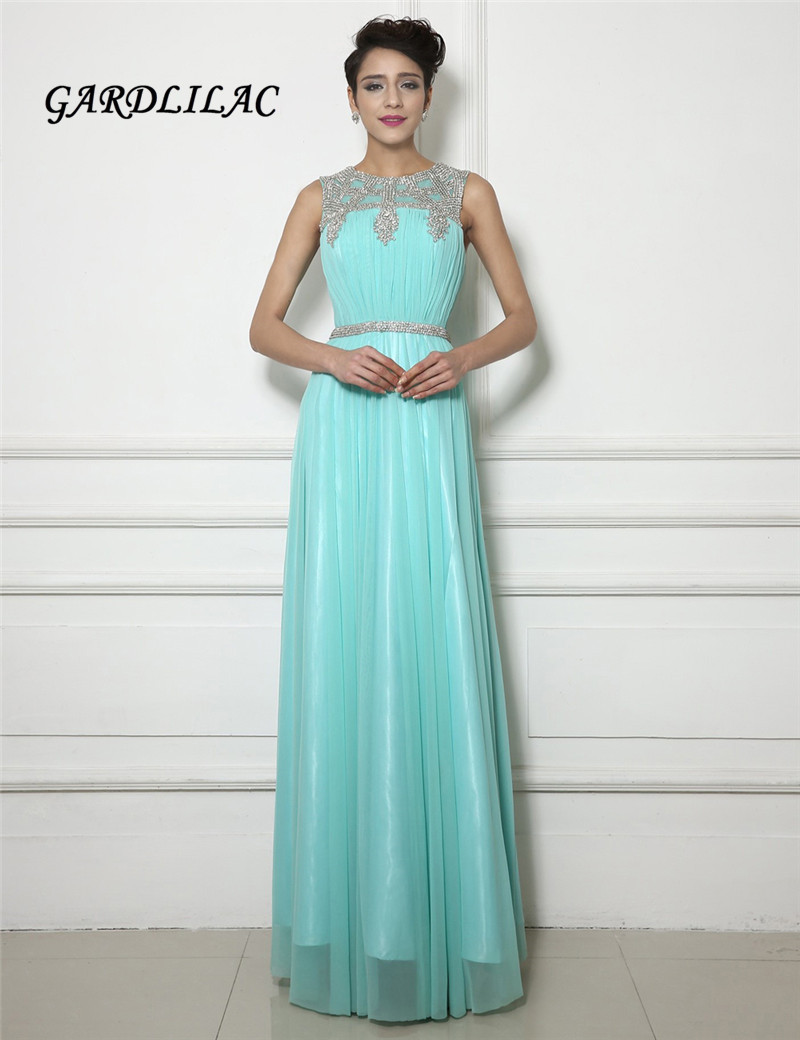 2017 New Mint Green Chiffon Evening Dresses With Silver Crystal Belt ...