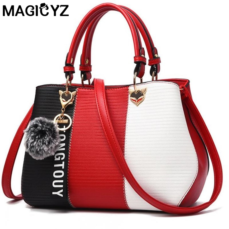 MAGICYZ Creative fashion women handbags 2018 hit color package shoulder oblique cross handbag simple Patchwork fur hair tote bag
