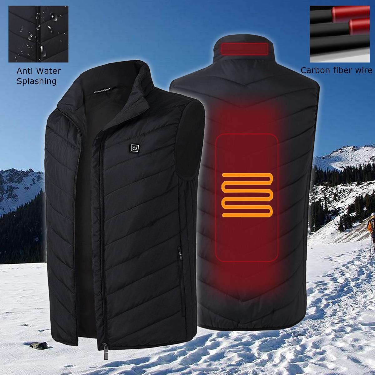 Mens Heated Jacket USB Sleeveless Vest Full Zipper Outdoor Heated Coats Safety Clothing