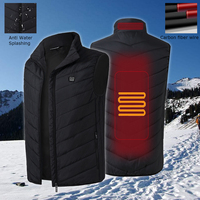 Mens Heated Jacket USB Sleeveless Vest Full Zipper Outdoor Heated Coats Safety Clothing