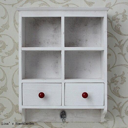 Farmhouse Vintage White Small Wooden Antique Wall Cabinet with Hook - Farmhouse Vintage White Small Wooden Antique Wall Cabinet With Hook