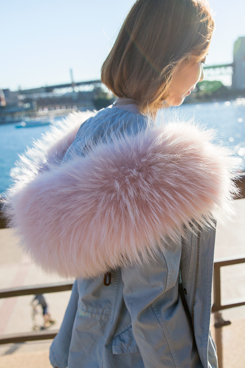 2016 Fur Warm Love New Winter Coat Women 2016 Large Real Raccoon Fur Collar Hooded Trench Casual Long Outerwear Ladies Coats Jac