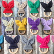 Cute Safety Wooden Natural Baby Rabbit Teething Ring Teether Bunny Sensory