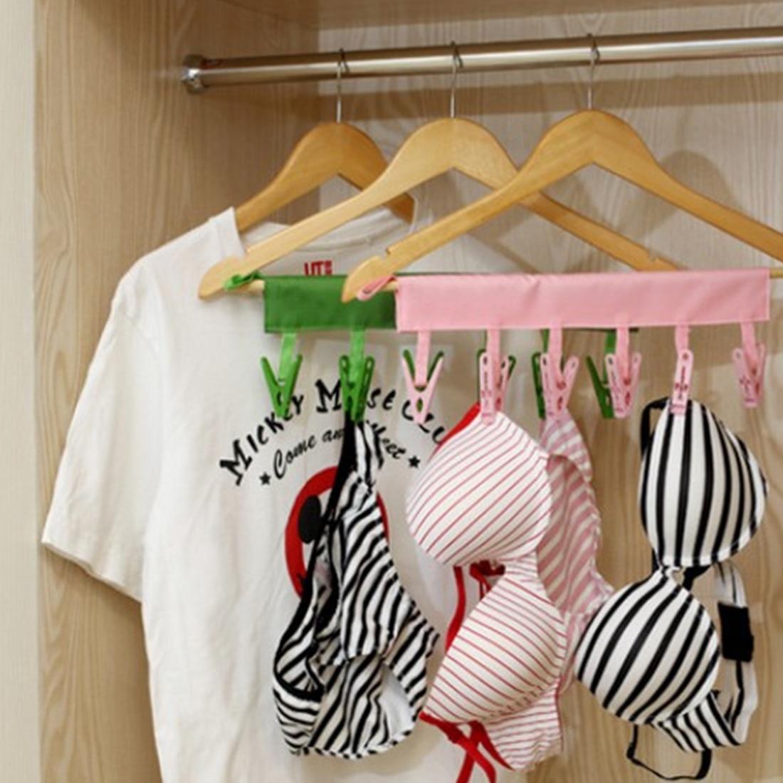 Practical Dacron Plastic Portable Bathrooms Cloth Hanger Rack Clothespin Business Travel Portable Folding Cloth Hanger Clips