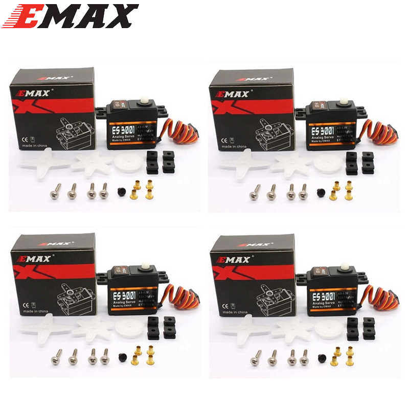 4x EMAX ES3001 Standard 43g Servo For RC Helicopter Boat Airplane (ES08A ES08MA ES08MD wholesale) aluminum water cool flange fits 26 29cc qj zenoah rcmk cy gas engine for rc boat
