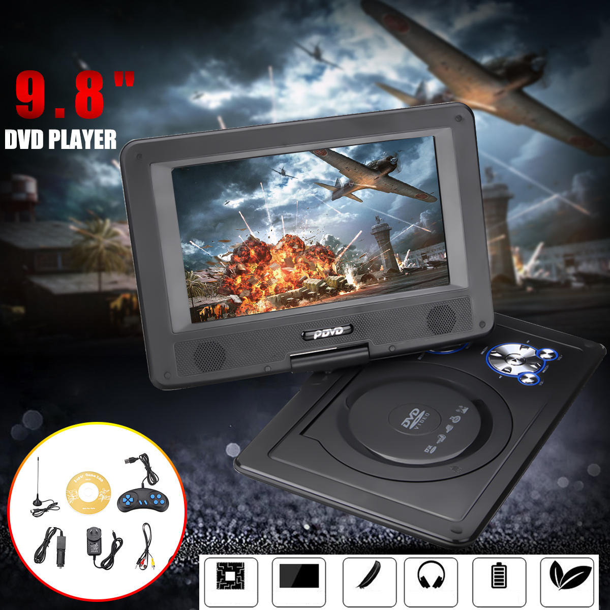9.8 Inch Portable HD DVD Player Rotating Screen FM VCD CD MP3 Mp4 TV Player Multimedia Player Car DVD Player with Gamepad стоимость