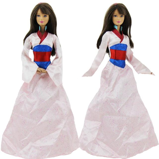 30edee816fda3 1 Set Fairy Tale Classical Long Gown Copy Mulan Dress National Tradition  Clothes For Barbie Doll Dollhouse Accessories Toy Gifts
