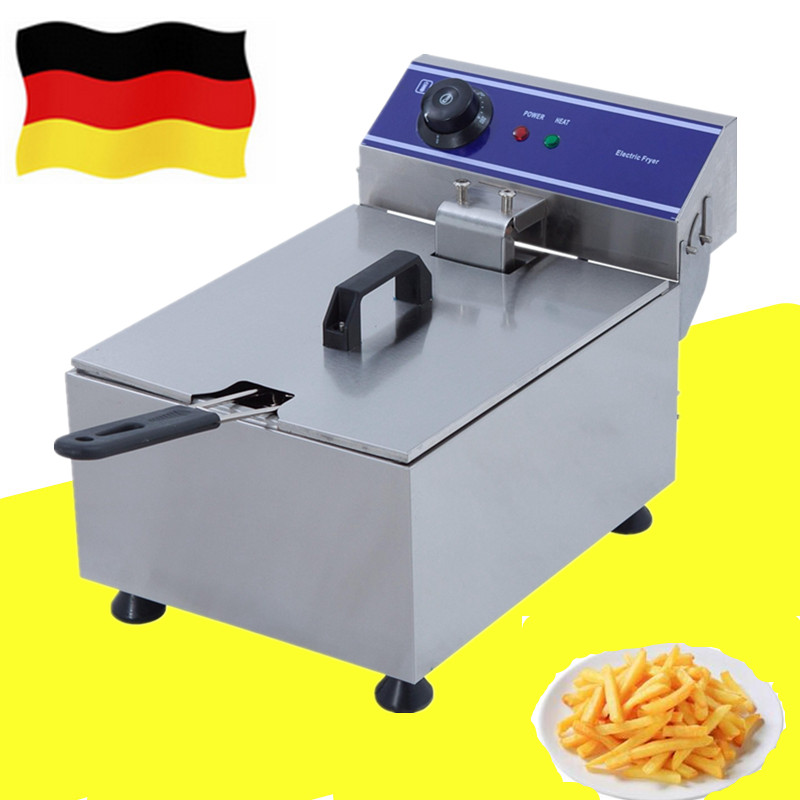 Stainless steel commercial 10L single one tank chicken meat electric deep fryer with thermostat tornado potato fryer machine