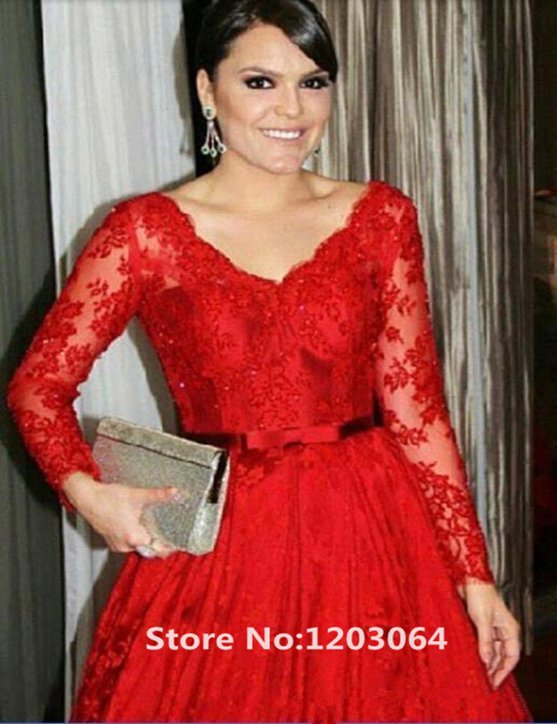 Popular Plus Size Red Evening Dress with Sleeve-Buy Cheap Plus ...