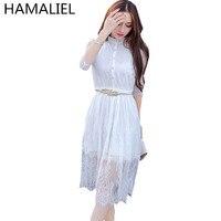 Vestidos 2017 Summer Women Lace Sexy Slim Dress Half Sleeve Floral Crochet Elastic Waist Black White