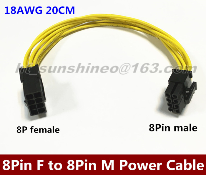High Quality Video Card PCI-E 8Pin Male to 8 Pin Female GPU Power Extension Cable 20CM 18AWG 5pcs lot cpu 8pin female to dual pci e pci express 8p 6 2 pin male power cable 18awg wire for graphics card btc miner 20cm