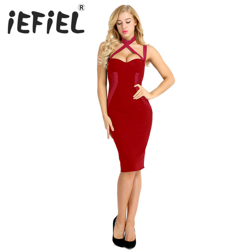 iEFiEL Women Sleeveless Bodycon Dress Bandage Spaghetti Strap Dress with Bra Pad Pageant Party Formal Occasion Dresses