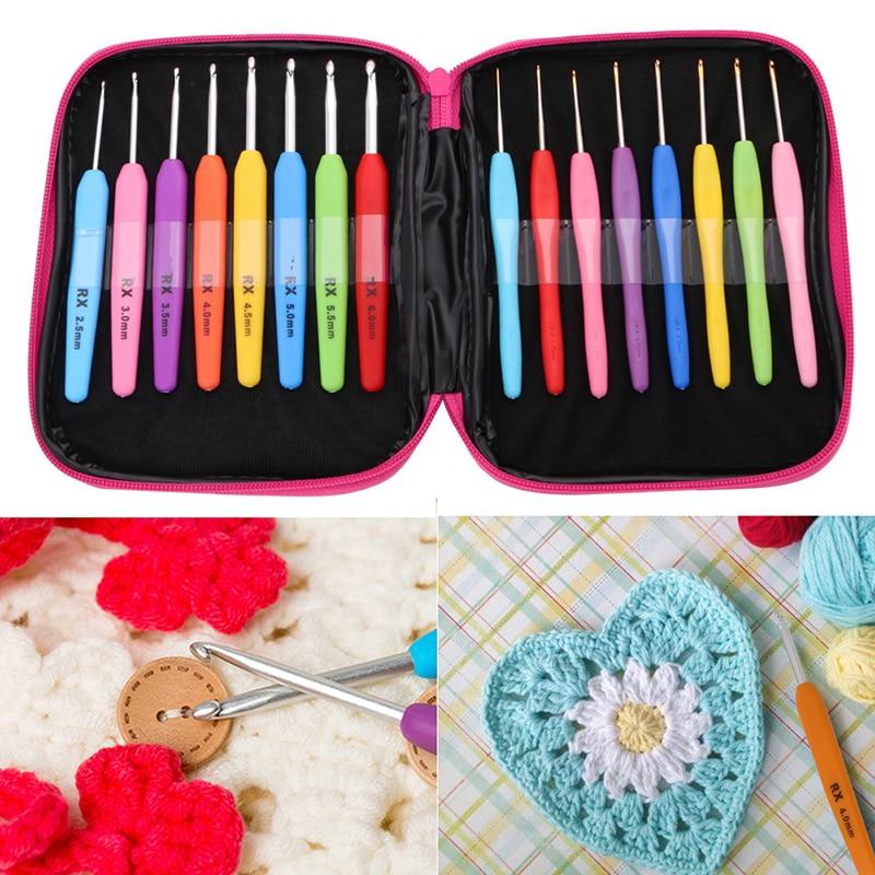 On Sale 1 Set/16Pcs Crochet Hooks Kit Comfort Grip Handle Craft Lovers Yarn Knitting Tools
