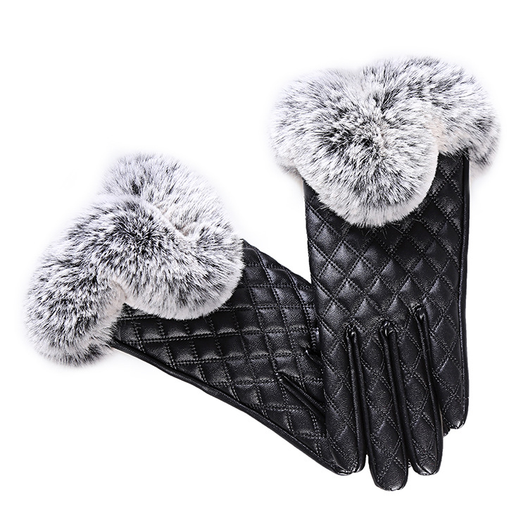 HTB1uuCabu7JL1JjSZFKq6A4KXXaw - KUYOMENS Fashion Women Warm Thick Winter Gloves Leather Elegant Girls Brand Mittens Free Size With Rabbit Fur Female Gloves