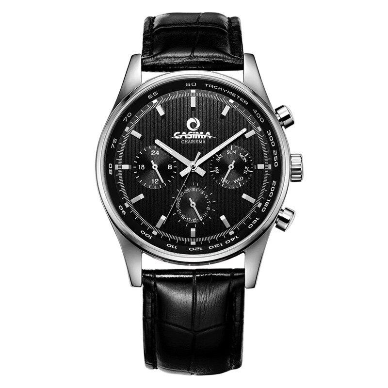 Montres homme De Luxe poignet classique mode hommes d'affaires montres à quartz bracelet en cuir noir imperméable 100 m CASIMA #5114
