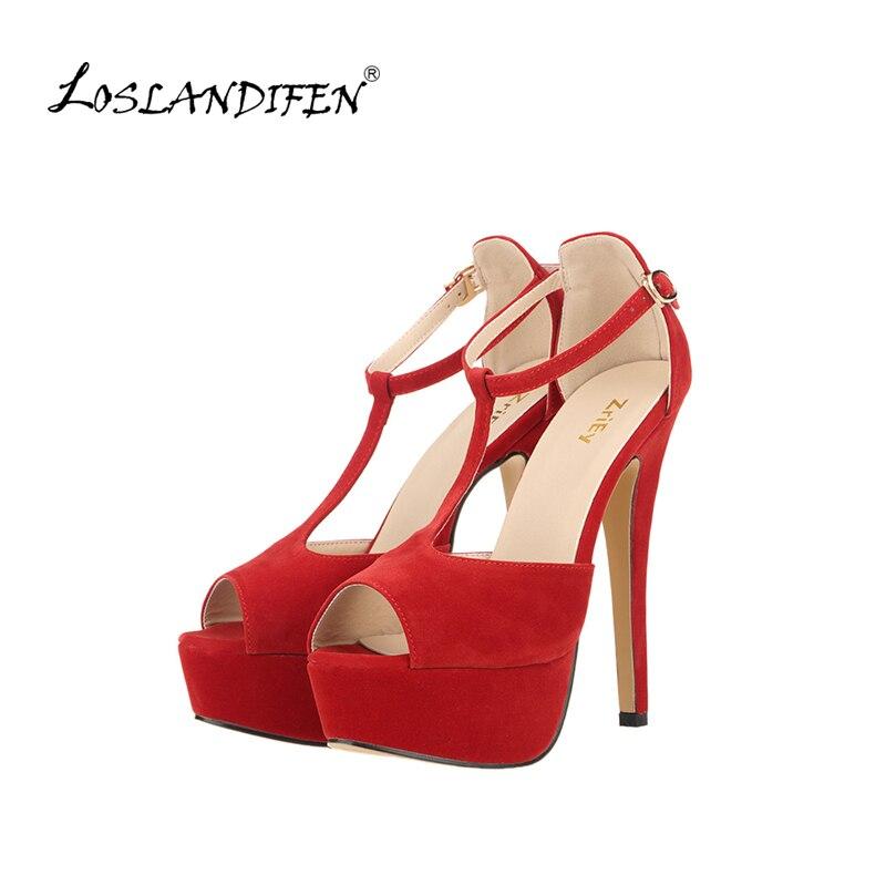 53ad19ffb39a Women Platform Suede High Heel Sandals Sexy Peep Toe Ankle Strap Stilettos Women  Pumps T-Strap Party Wedding Shoes 817-19VE