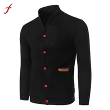 TOP Fashion Mens Slim Designed Button Cardigan Coat Jacket Blusa Autumn And Winter Solid tracksuit Casual sweatshirt male 2017