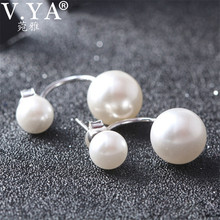 Double Simulated Pearl 925 Sterling Silver Earring 100% Real Pure S925 Solid Silver Shell Pearl Stud Earrings for Women Jewelry