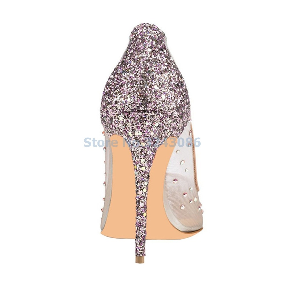 f628b4134be3 Mesh Pointed Toe Dress Shoes Shining Rhinestone Silver Bling Thin High Heel  Elegant Concise Wedding Shoes-in Women's Pumps from Shoes on Aliexpress.com  ...