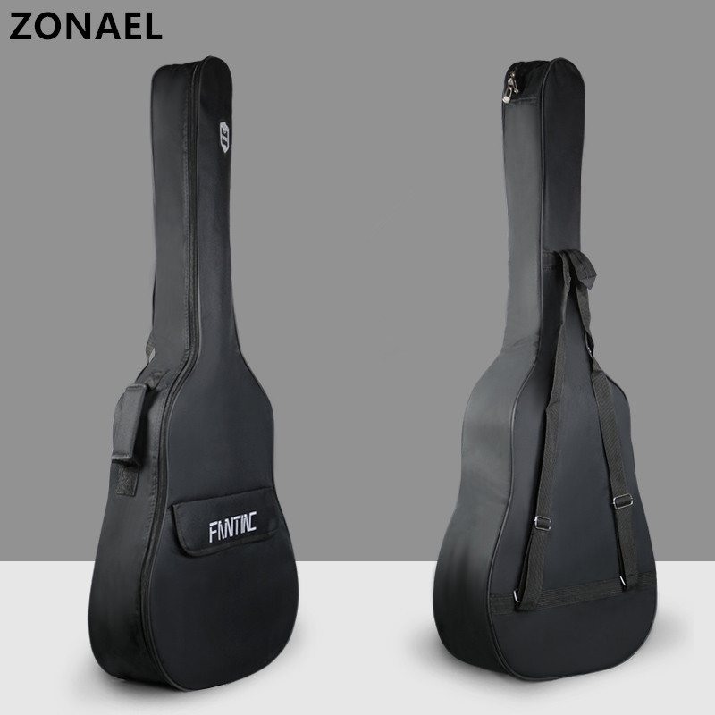ZONAEL 36 39 41 Inch Waterproof Folk Guitar Bag Pad Cotton Thickening Backpack Double Straps Soft Case Guitar Gig Bag Parts 21 inch colorful ukulele bag 10mm cotton soft case gig bag mini guitar ukelele backpack 2 colors optional