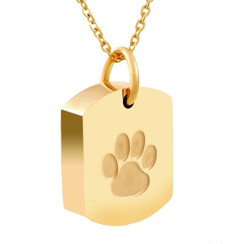 FUNIQUE Gold Color Stainless Steel Dog Paw Prints Memorial
