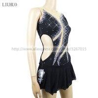 The New Women's Pole Dancing Costume Black high elastic fabric gauze Sexy Shiny rhinestone Sleeveless