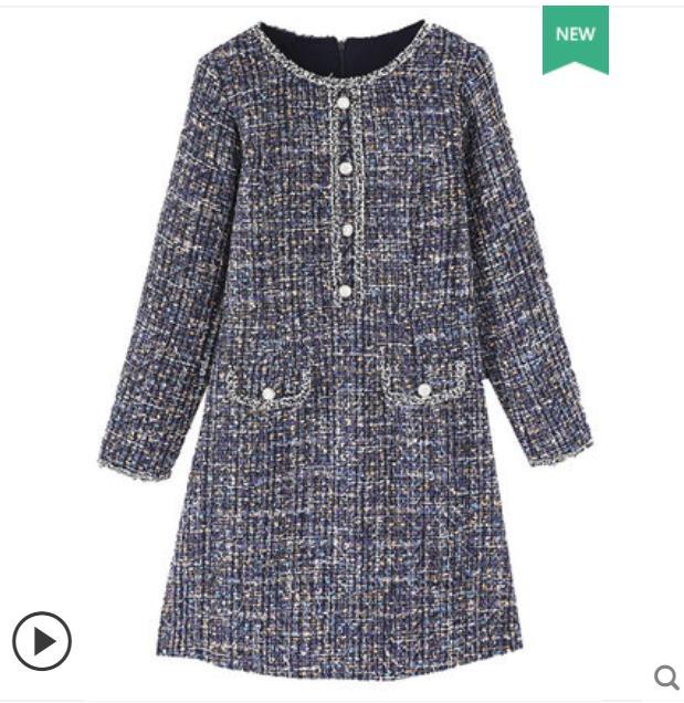 Big size autunno inverno vestito femminile 2018 nuovo grasso mm piccolo profumo ombra stomaco spettacolo allentato sottile di lana del vestito