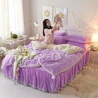 Princess Mink velvet bedding sets super warm solft winter Crystal velvet duvet cover bedskirt pillow cover king/queen bed kit