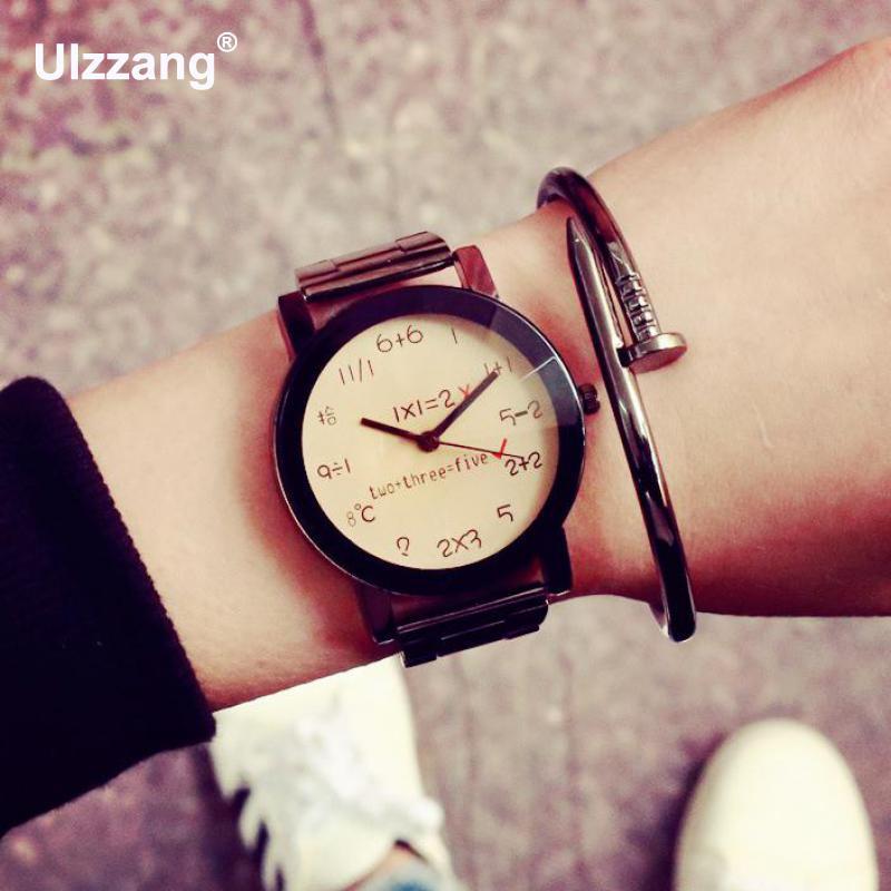 3589c601b5d9 Negro moda número conteo completo acero inoxidable de cuarzo relojes hombres  mujeres señoras niñas