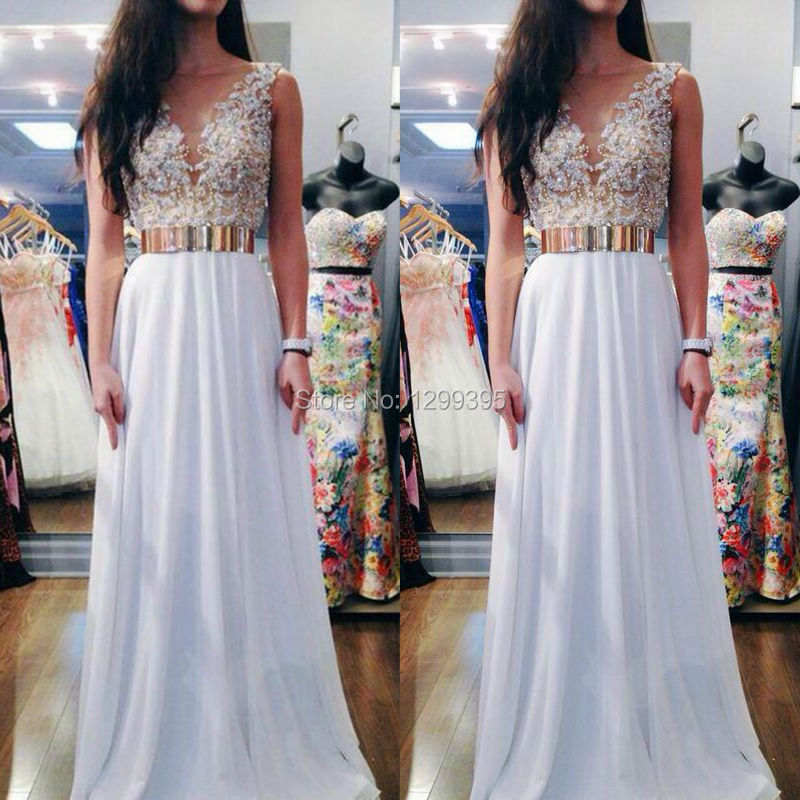 Elegant Long White Prom Dresses With Gold Belt With