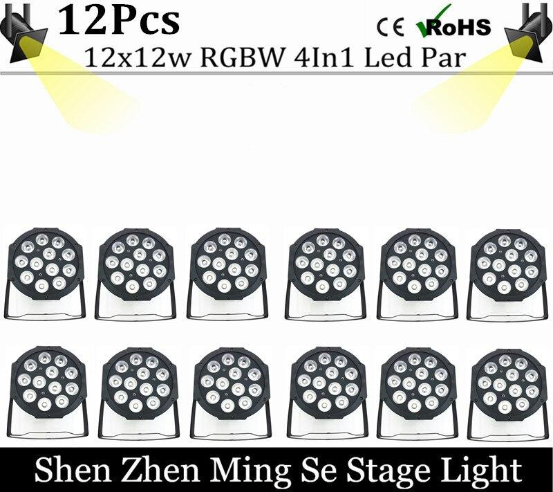 12pcs/lots  12x12w led  lamp beads  led Par lights RGBW 4in1 flat par led dmx512 disco lights professional stage dj equipment
